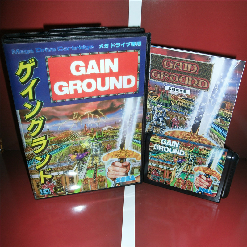 Gain Ground Japan Cover with Box and Manual for MD MegaDrive Video Game Console 16 bit MD card