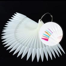 50 Pcs Sharp Fan Shaped Nail Art False Tips Polish Gel Color Practice Display Showing Card Detachable Sticks Manicure Tools