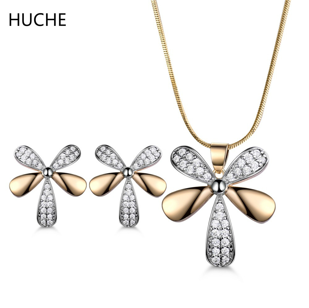 HUCHE Hot 50% Off Vintage Bridal Jewelry Sets Pendants Necklaces Earrings for Women with Stone Flower Jewelery Bijouterie ZT043
