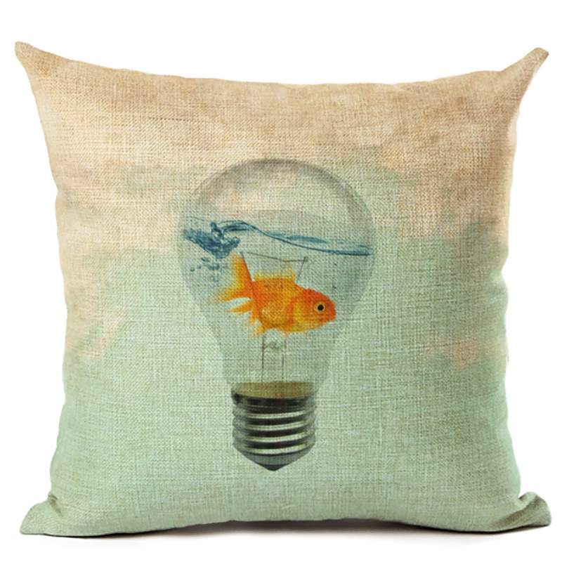 New Style Light Bulb Pillowcase Cushion Cover Goldfish in the Bulb Throw Pillow Case For Sofa Home Decor F