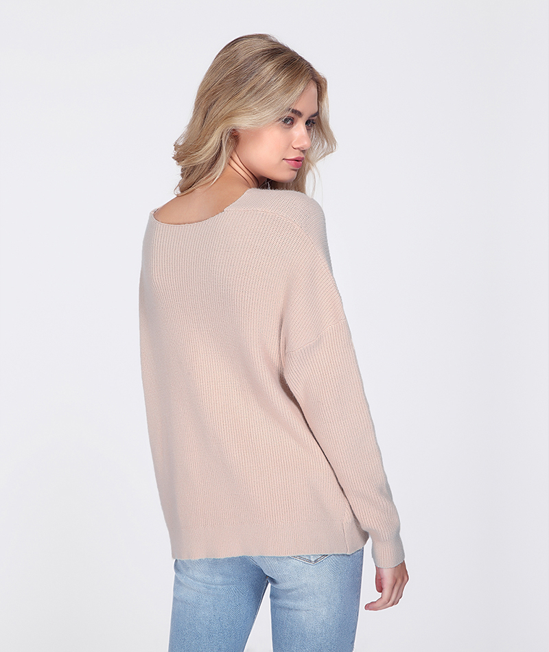 Khaki Blue Long Sleeve Knitted Sweater Pullover