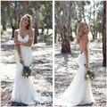 Nuevo diseño de la sirena de boda del cordón 2016 V cuello correas espaguetis barrer de tren Vestido nupcial Vestido de noiva