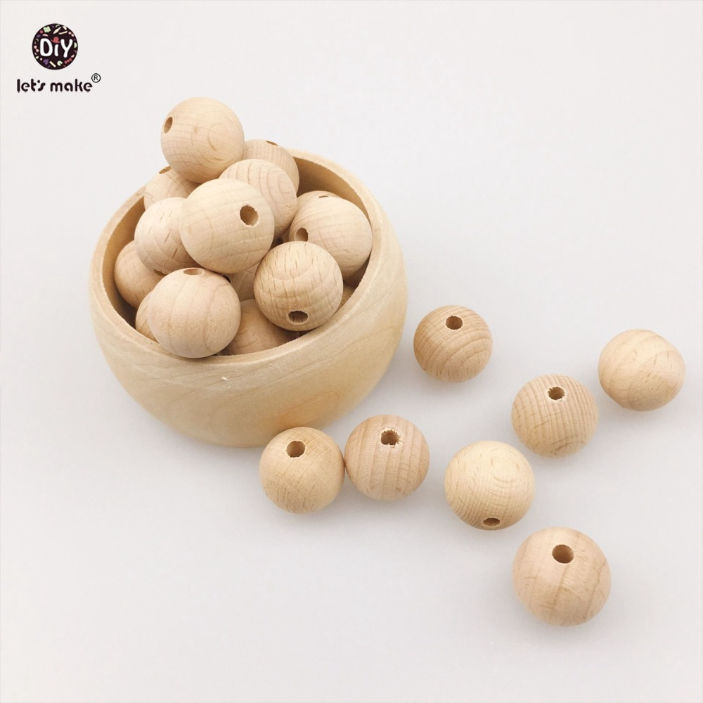 Let's Make Wooden Teether 100pcs (8mm-20mm) Chew Beech Beads Unfinished DIY Jewelry Teething Necklace Accessories Baby Teether