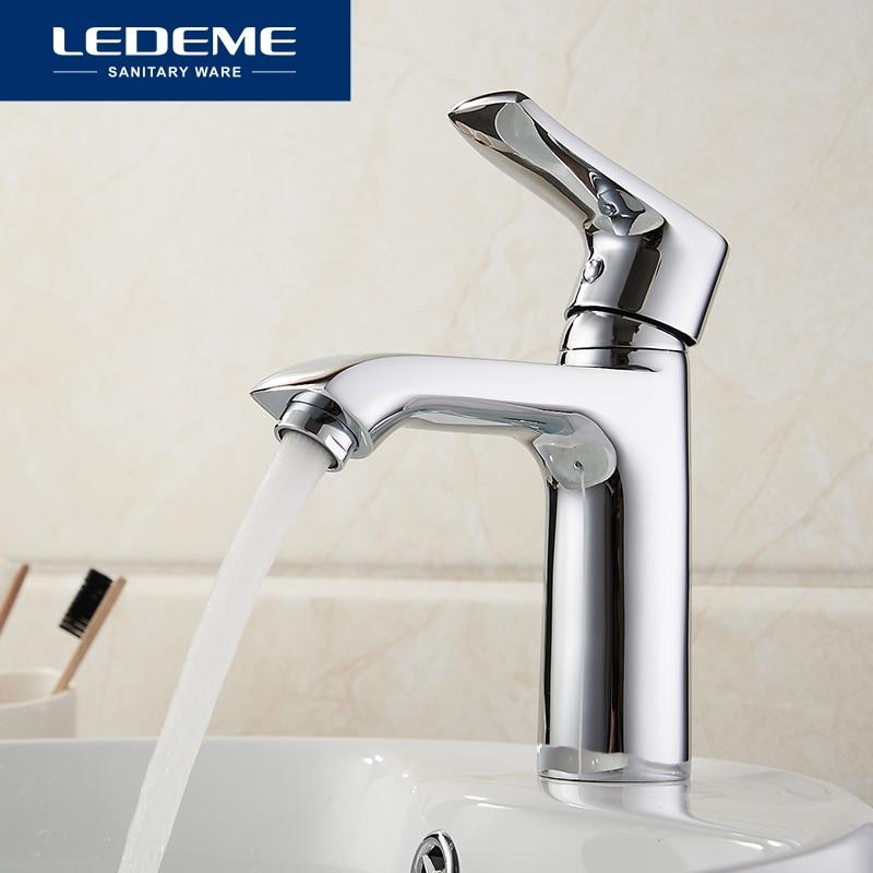LEDEME robinet de salle de bain robinets de bassin eau chaude et froide pont mitigeur Installation évier finition Chrome L1034