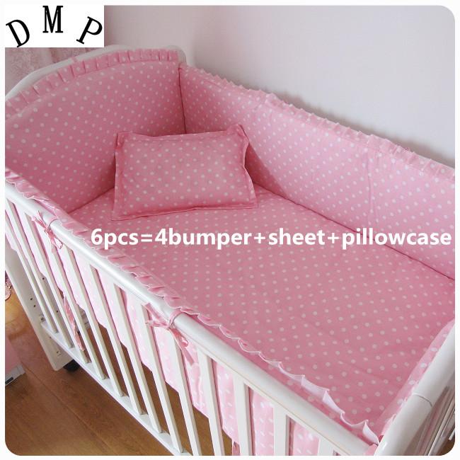 Promotion! 6PCS Animals Baby Bedding Set 100% Cotton Bedding Set Comfortable Baby Bed juego de cama (bumpers+sheet+pillow cover)