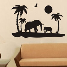 Safari Elephant Africa India Removable Wall Stickers for Nursery Children Kids Room Home Decoration Vinyl Decals Poster K725(China)