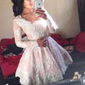 Light Pink Long Sleeve Lace Mini Length Cheap Homecoming Dress 2017 New Vestido De Festa Curto