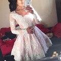 Luz Rosa Manga Comprida Lace Mini Comprimento Vestido de Baile Barato 2017 Novo Vestido De Festa Curto