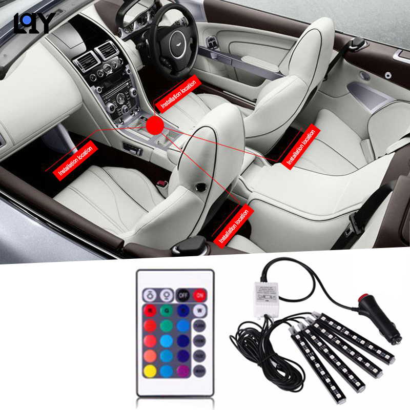 LQY LED lights 12V car atmosphere lights jewelry lights wireless remote control color control car interior lights auto supplies image