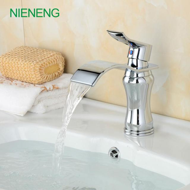 NIENENG Bathroom Faucets New Wash Basin Tap WC Fitment Bent Hot - Silver bathroom faucets