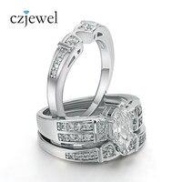 Victoria Wieck Marquise Cut Topaz Simulated Diamond 14KT White Gold GF 3 Wedding Band Ring Set