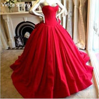 Vintage Princess Red Wedding Dresses Formal Dress Ball Gowns Bodice Sweetheart Floor Length Big Bow Back Backless Bride Dress
