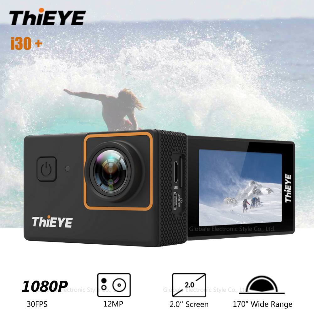 Original ThiEYE i30 Plus Sport Action Camera 1080P 30FPS WiFi Waterproof 12MP Full HD 2 inch Screen 170 Degree Wide Angle electric guitar musical instrument lp standard p90 hh pickups chrome parts no pickguard