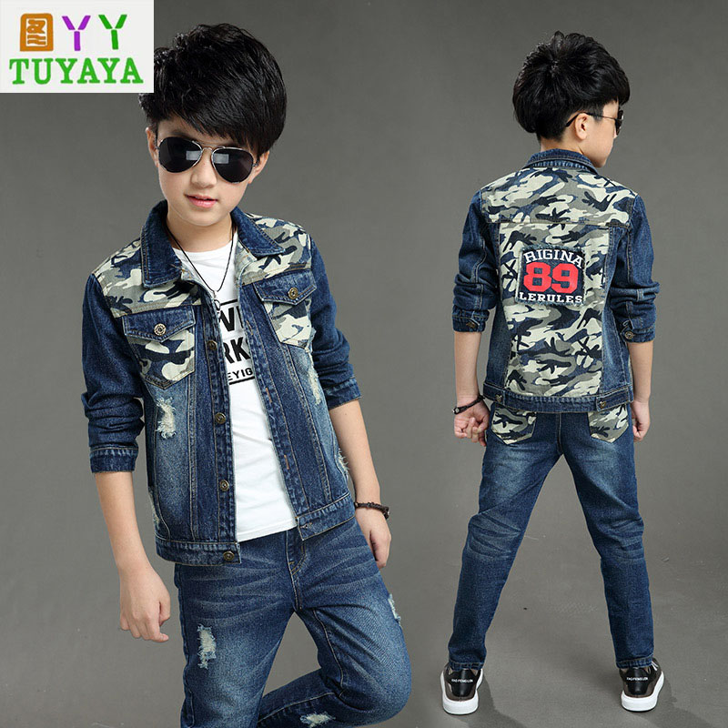 2018 Kids Camouflage Coats Baby Boys Jeans Clothing Set Children Cotton Sports Suit Set Kids Cowboy Coats +jeans Clothes Set жакет oodji oodji oo001ewiww25