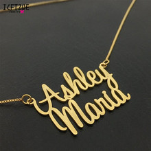Stainless Steel Personalized Two Names Necklace Women Men Silver Gold Rose Customized Choker Wedding Gift Jewelry