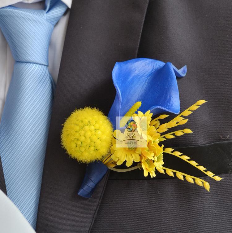 Acheter 4 Nouveaux Styles De Luxe 5 Pcs/Lot Meilleur Homme Marié Boutonnière Calla lily Fleur De Mariage Groomsman Corsage Partie De Bal Homme Costume broche de suits for short men fiable fournisseurs