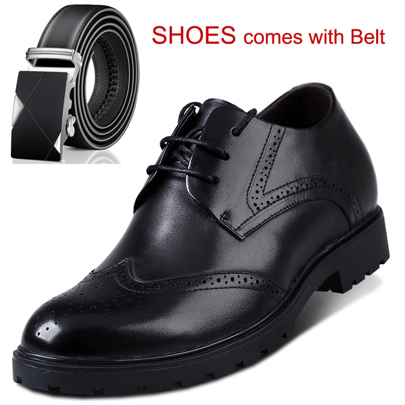 Dress Formal Mens Oxford Brogues Dress Leather Elevator Shoes Shoes Increase Height 2.75 Inches