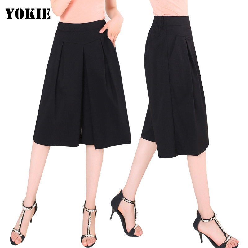 High Quality Plus Size S-4XL 2016 summer Wide leg   pants     capris   women high waist loose casual   pants   female trousers feminina