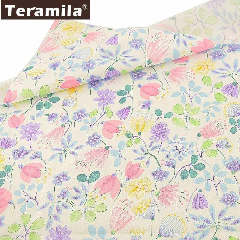 Teramila Twill 100% Cotton Floral Fabric Flowers Quilting Tecido Sewing Patchwork Telas DIY Tissus Au Metre White Scrapbooking