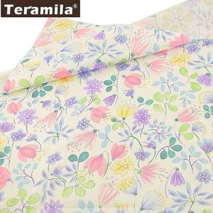 Teramila 100% Cotton Fabric Flowers Sewing Patchwork White