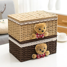 Storage basket paper rattan fabric with cover storage box finishing box cosmetic storage box desktop storage basket rattan storage basket fabric storage box desktop storage box toy sundries snacks finishing basket storage basket