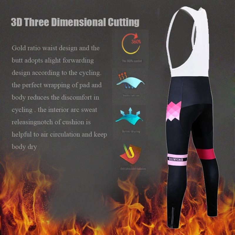 Siilenyond 2019 Women Winter Thermal Cycling Bib Pants Shockproof MTB Bike Cycling Bib Trousers With Coolmax 3D Gel Padded 5