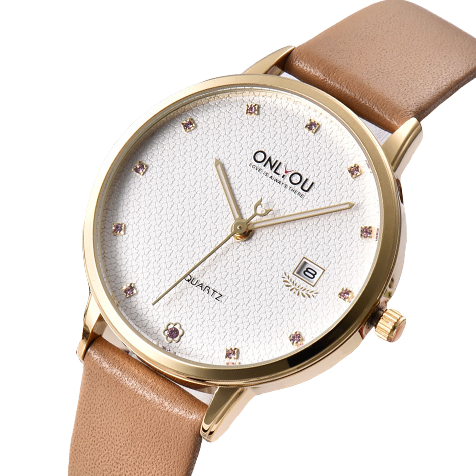 ONLYOU mode montre femmes strass dames nouvelle montre bracelet diamant véritable bracelet en cuir robe horloge populaire marque fille-in Montres femme from Montres    3