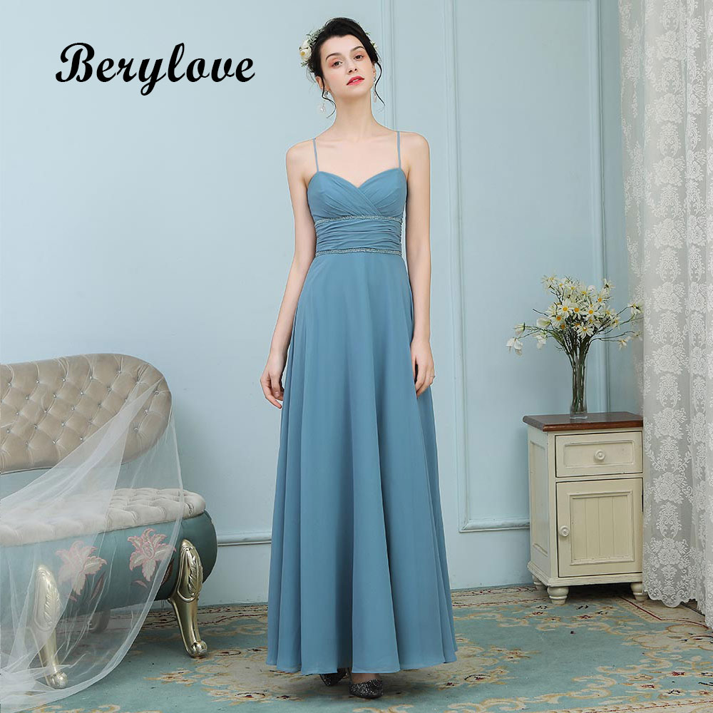 BeryLove Charming Evening Dresses Long Spaghetti Straps Teal Prom Dresses 2018 Green Formal Evening Dress Party Gowns For Prom