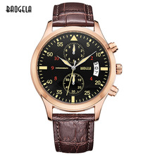 Baogela Fashion Mens Chronograph Army Wrist Watches Causal Waterproof Leather Analogue Watch with Calendar for Man Buckle Clasp
