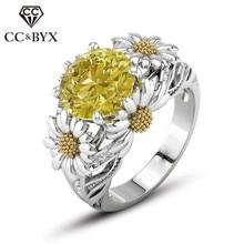 8418119d6580 CC anillos de girasol para mujer joyería nupcial boda joyería compromiso  piedra redonda Zirconia cúbica anillo accesorios CC2012