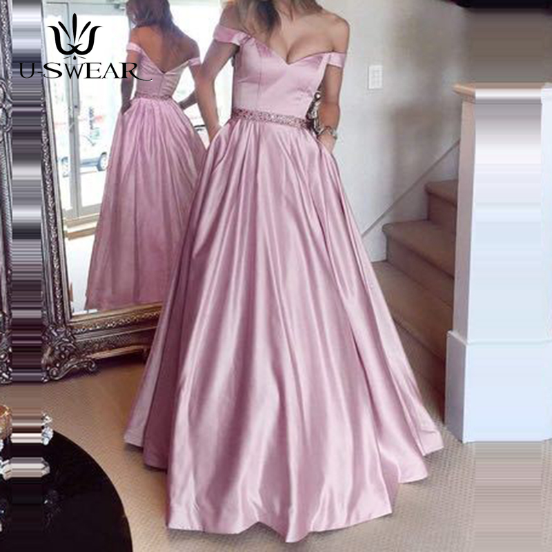 U-SWEAR Sexy Boat Neck Sleeveless Off the Shoulder Backless Long A-Line   Evening     Dresses   Party Prom Formal Gowns Robe De Soiree