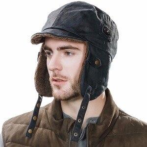 Image 2 - FANCET chapeau bombardier unisexe pour hommes, chapeau de pilote daviateur, protège oreilles, coupe vent, Ushanka, chapeau de chasse 88115