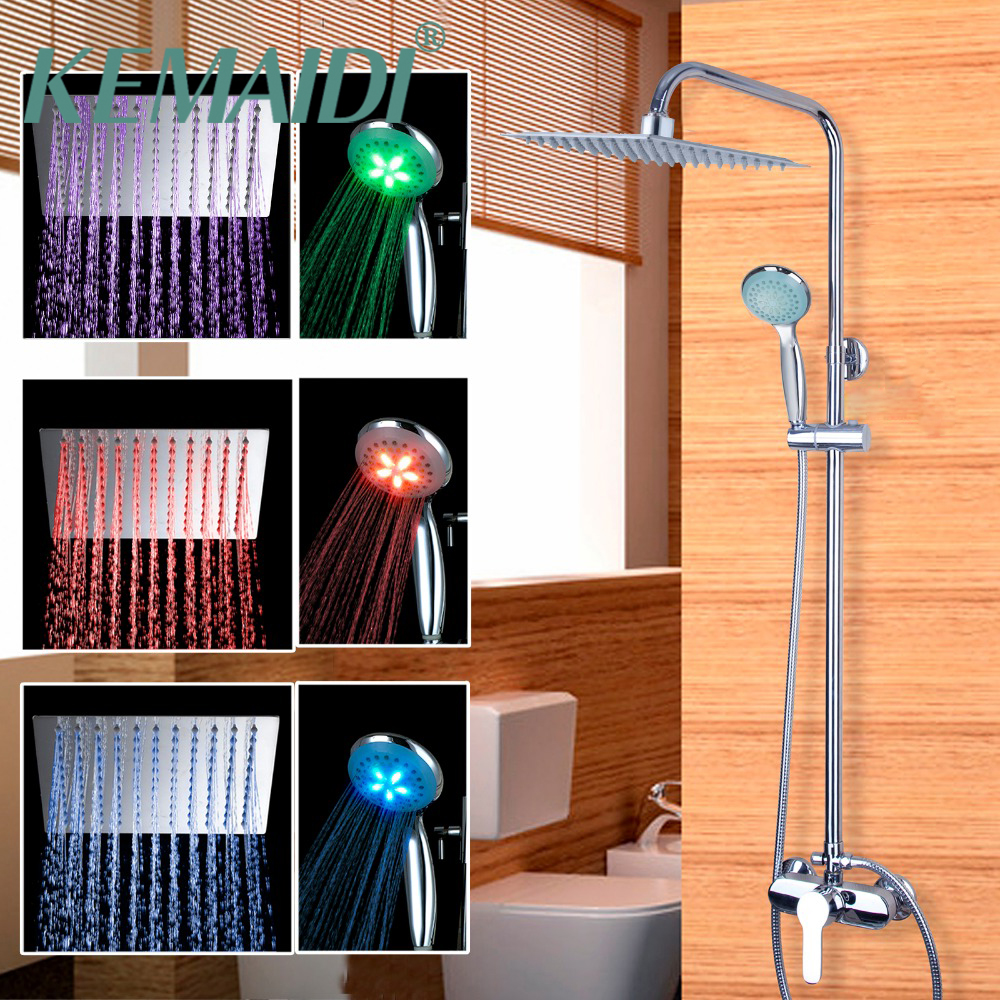 KEMAIDI  LED Rain Shower Set Single handle Wall Faucet Bath and Shower Mixer Brass Chrome + LED Rain Shower Head New Arrival kemaidi new modern wall mount shower faucet mixer tap w rain shower head