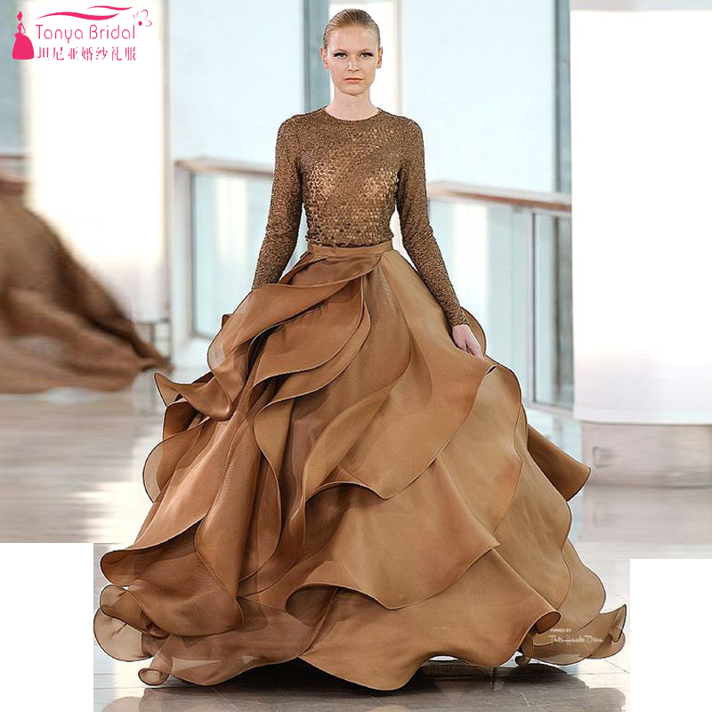 Brown A Line Stunning Ruffles Sequined Long sleeve Prom Dresses ...