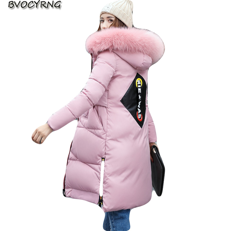 2017New Fashion Women Winter Jacket Coat High-end Big Yards Eiderdown Cotton Coat Hooded Long Style Thickening Warm Parka Q615 2017new winter fashion elegant women coat hooded big yards medium long high end jacket eiderdown cotton slim warm coat q457