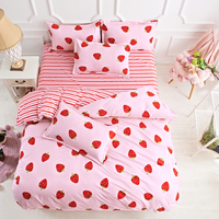 A:Red Strawberry B:Red And Pink Stripes Double Sided 4pcs Duvet Cover Soft Bed Linen Flat Bed Sheet Set Pillowcase High Quality
