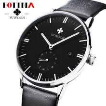 FOTINA Top Brand WWOOR Бизнес Смотреть Мужчины Ультра Тонкие Швейцарские Часы Натуральная Кожа Кварцевые Часы Мужские Наручные Часы Relogio мужской