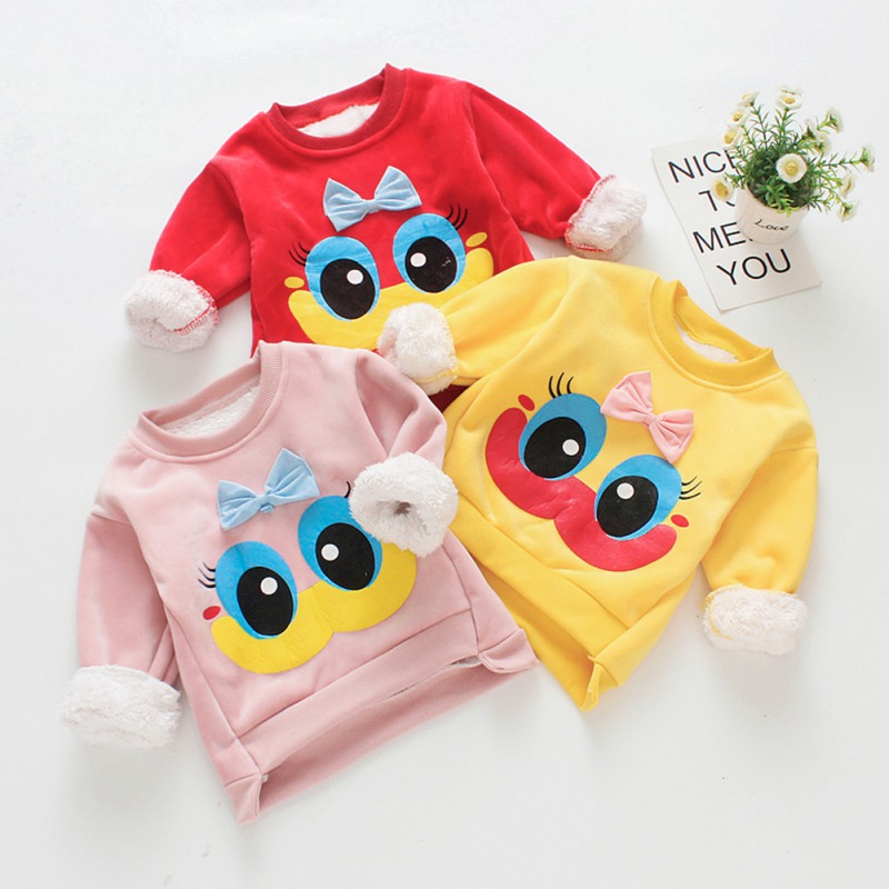 Children Tops Cartoon Warm Clothes Kids Girls Long Sleeve Casual Thicken Tees Infant Baby Boy Winter Clothing T-Shirts