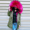 Parkas For Women Winter Army Green Wadded Coat Large natural real fur Collar Thick Jacket Outerwear Female Jackets 758