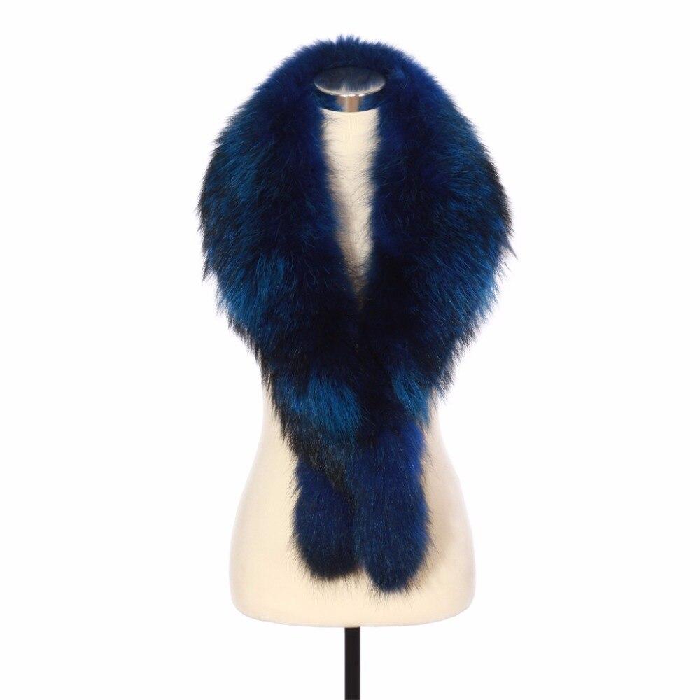 Zy86010 Сезон Зима 2016 Для женщин натуральным Мех животных большой воротник шарфы модное пальто свитер Шарфы для женщин воротник роскошный енот