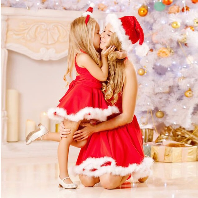 2018 Christmas Dress Mother Daughter Family Matching Outfits Fashion  Dresses Mom Daughter Dress Family Fitted Clothes - 2018 Christmas Dress Mother Daughter Family Matching Outfits Fashion