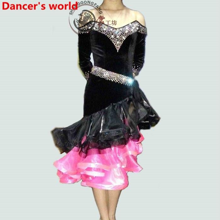 Irregular Fringes Skirt Women Harness Style Back Opening Latin Tango Ballroom Salsa Dance Dress Party Costume Tassel women Dress