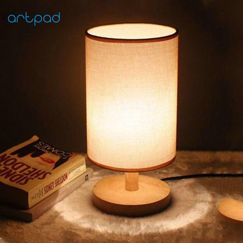 Artpad Nordic Moderne Holz Tisch Lampe E27 Diy Hand Bemalt Stoff