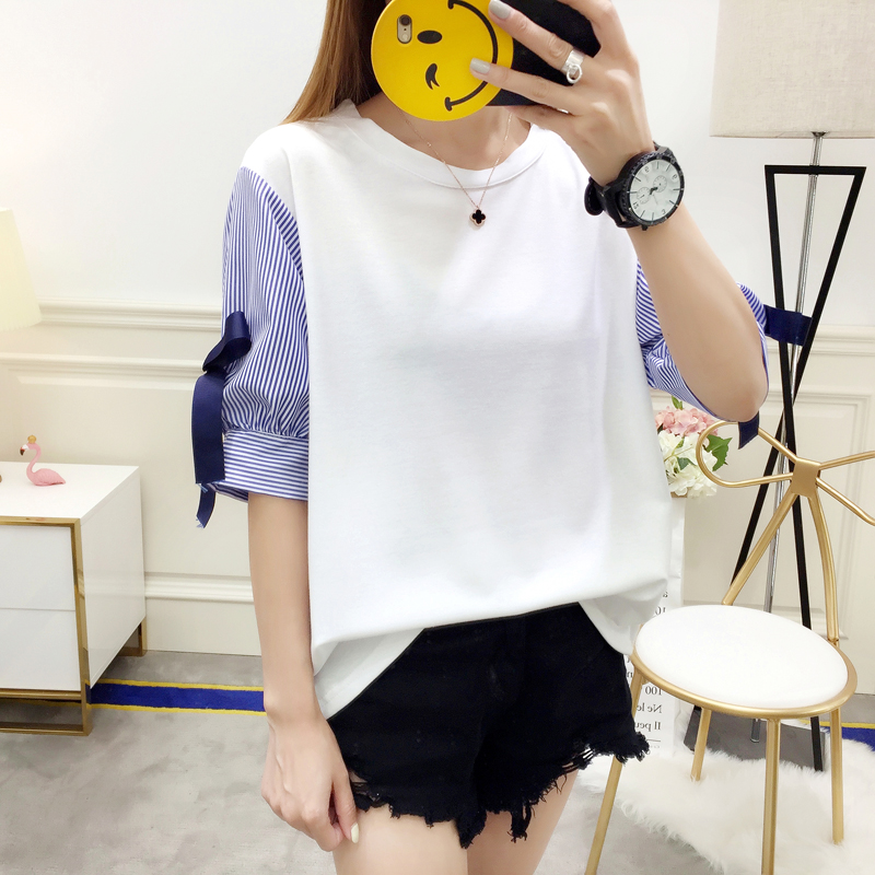 Womens plus size T-Shirt Bow tie Lantern sleeve Fake two pieces Splice T-shirts Bottoming Tops M/L/XL/2XL/3XL/4XL/5XL