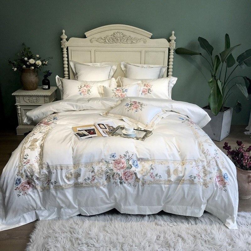 Белый синий Роскошные цветы пастырской Вышивка S 100 S из египетского хлопка дворец постельное белье набор пододеяльников для пуховых одеял