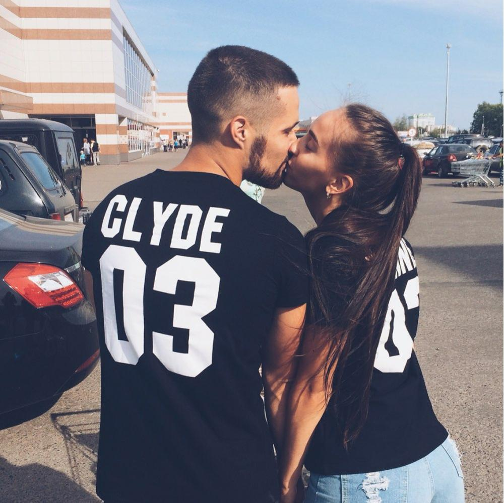 BONNIE CLYDE 03 Funny letters couple   t     shirts   2017 summer fashion black white women   t     shirt   cotton short sleeve camisetas mujer