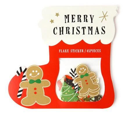45pcs/set Paper Stickers Kawaii Label Stickers Christmas Series Santa Clause Decorative DIY Packing Sealing Stickers 008