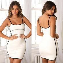 2019 Women's Sexy Sleeveless Mini Bodycon Short Dress Sling Tight Dress black sleeveless tight waist mini dress