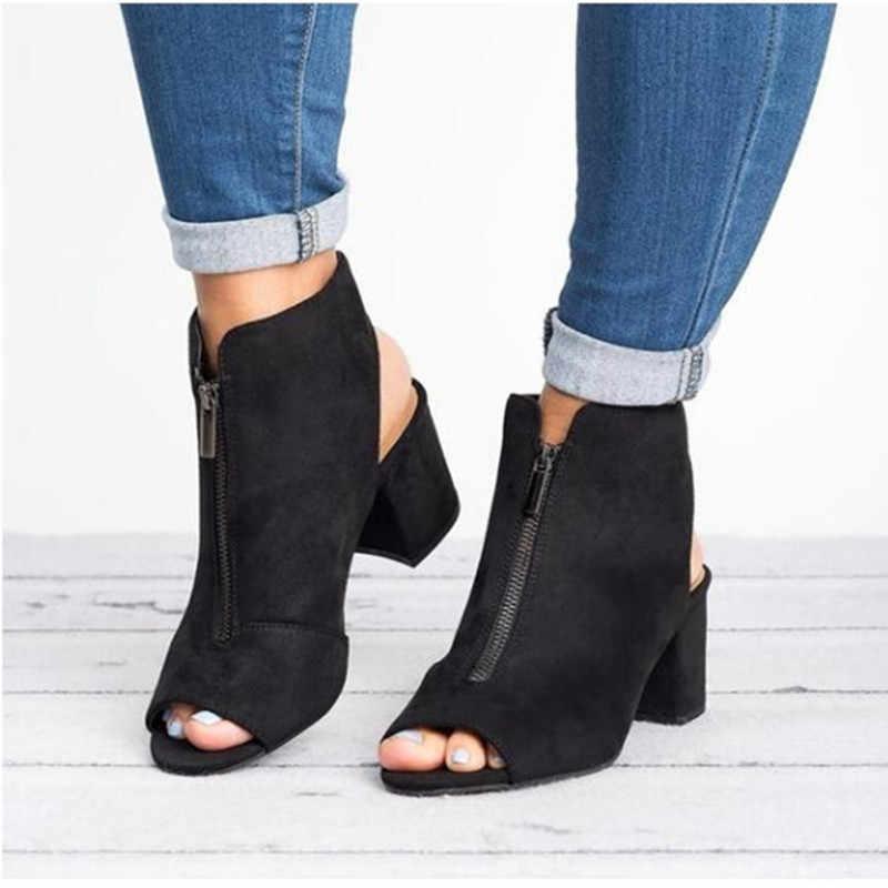 คลาสสิกข้อเท้ารองเท้าหนัง Faux Suede เปิด Peep Toe รองเท้าส้นสูงซิปแฟชั่นสแควร์สีดำรองเท้าผู้หญิง size3