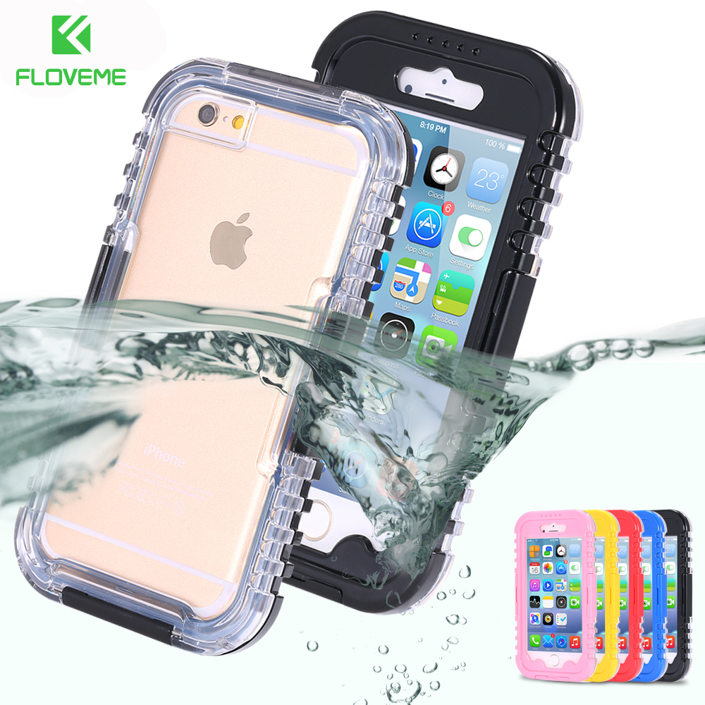 FLOVEME IP-68 Waterproof Case For iPhone 6 6S Plus 5S SE Case for iPhone X 8 7 plus 4 Heavy Duty Hybrid Swimming Dive Phone Bags